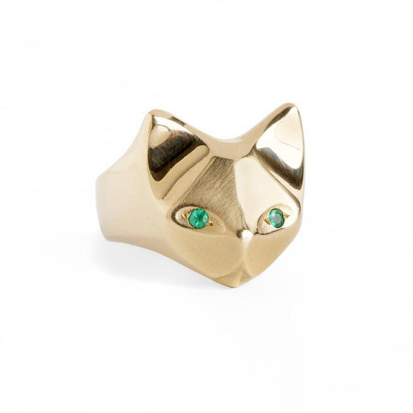 ___ Jewelry Gold Cat Ring & Emeralds