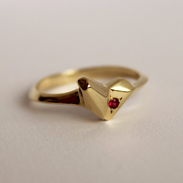 ___ Jewelry Gold Heart Ring  with Ruby Setting