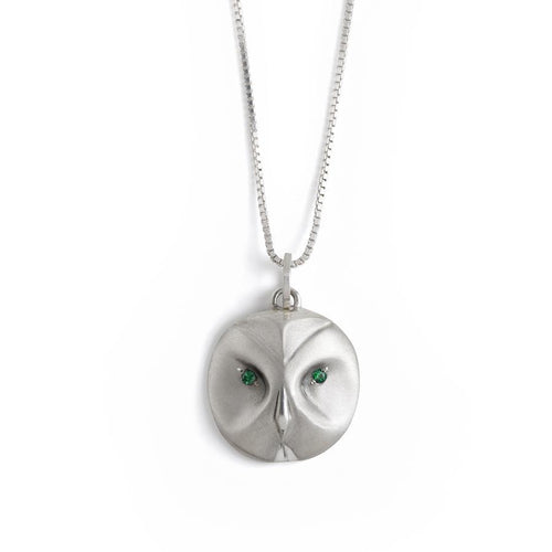 ___ Jewelry Great Grey Owl Necklace With Emerald Eyes