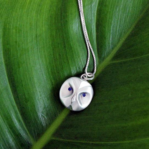 ___ Jewelry Great Grey Owl Necklace With Sapphire Eyes