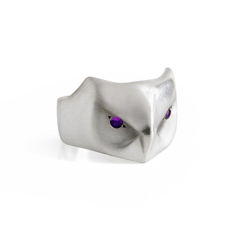 ___ Jewelry Great Horned Owl Ring with Amethyst Eyes