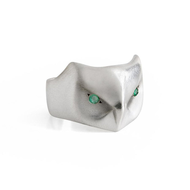 ___ Jewelry Great Horned Owl Ring with Emerald Eyes
