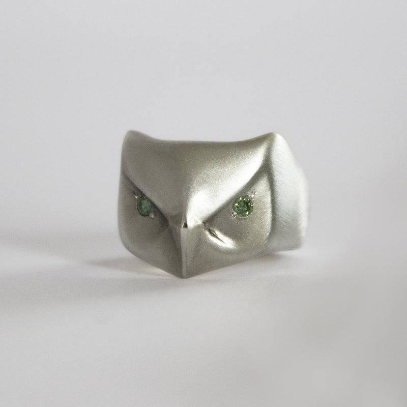 ___ Jewelry Great Horned Owl Ring with Green Diamonds