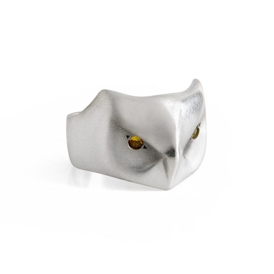 ___ Jewelry Great Horned Owl Ring, Yellow Sapphire Eyes