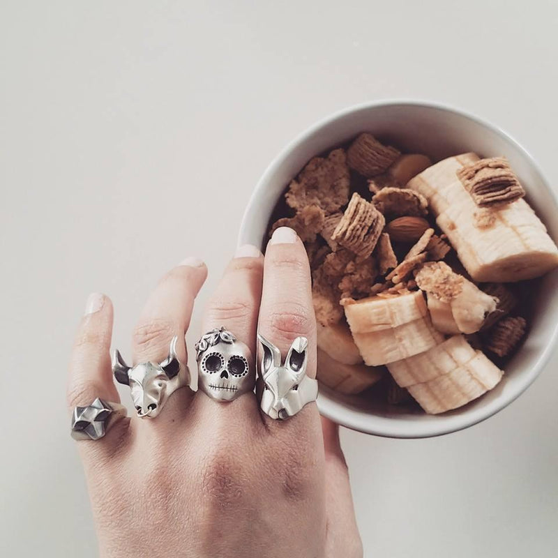 Lady Skull Ring with Purple Flowers