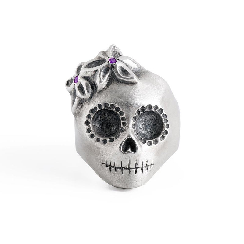___ Jewelry Lady Skull Ring with Purple Flowers