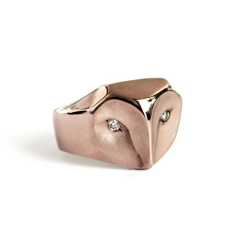 ___ Jewelry Rose Gold Owl Ring with Diamonds
