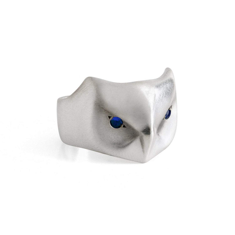 ___ Jewelry Select Your Size / blue-sapphire Great Horned Owl Ring, Yellow Sapphire Eyes