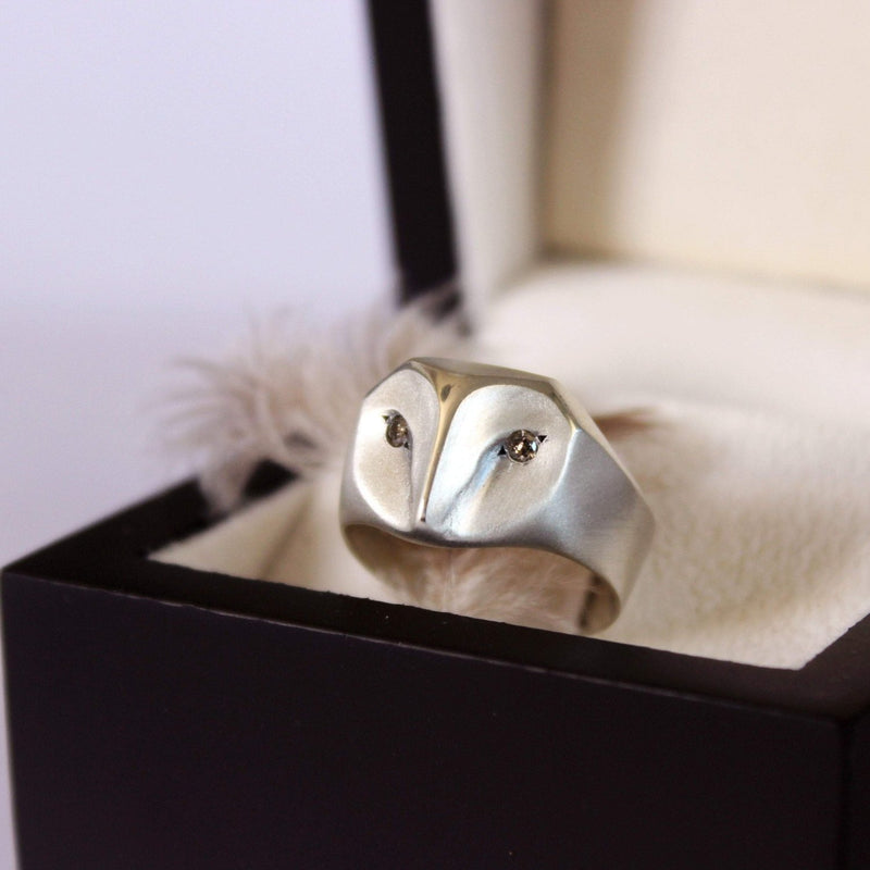 ___ Jewelry Select Your Size / champagne-diamond Owl Ring with Champagne Diamonds