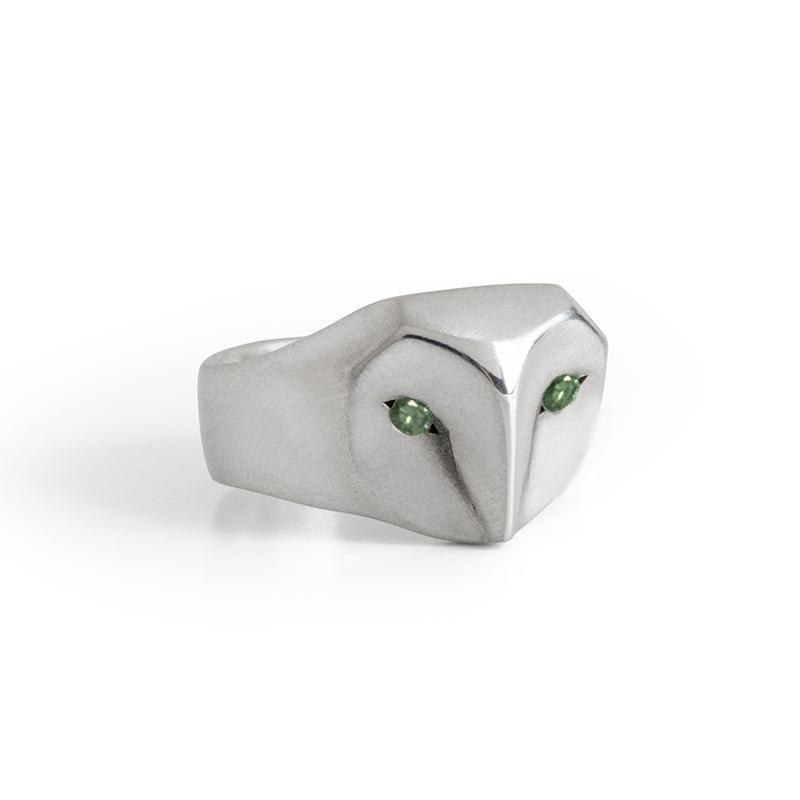 ___ Jewelry Select Your Size / green-diamond Owl Ring with Champagne Diamonds