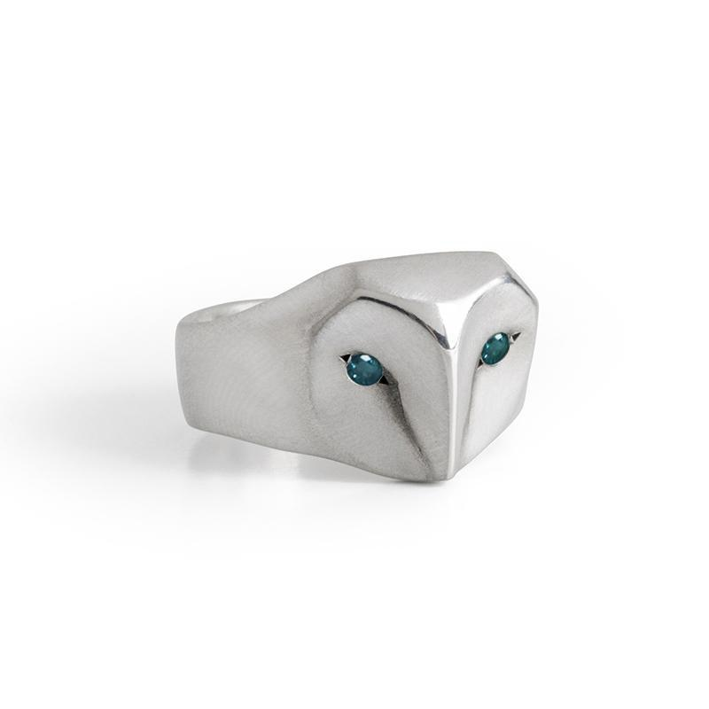___ Jewelry Select Your Size / ocean-blue-diamond Owl Ring with Champagne Diamonds