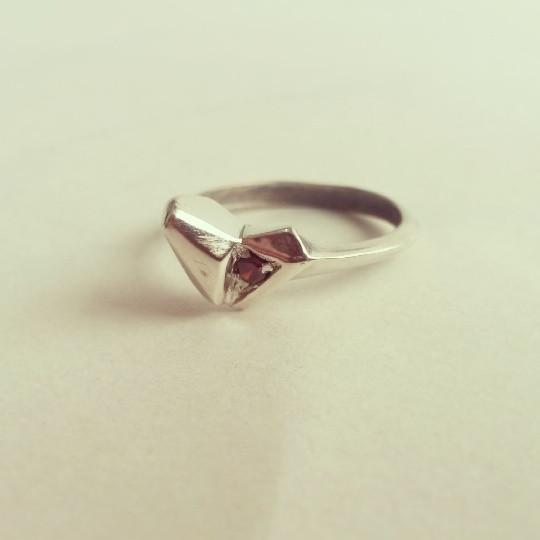 ___ Jewelry Silver Heart Ruby ring