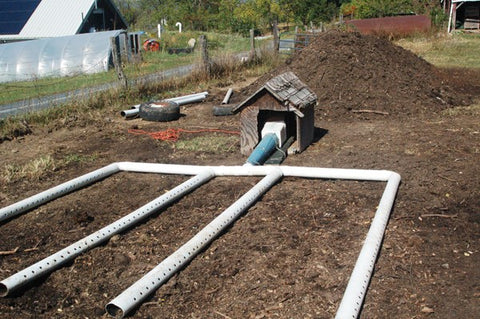 blower and manifold of aerated static pile composting