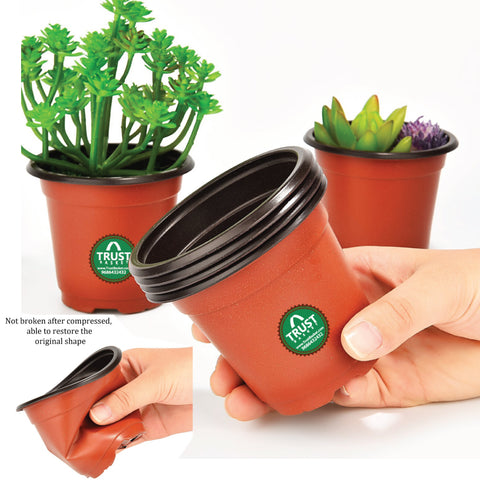 OUTDOOR PLANT POTS AND PLANTERS Online - Nursery Plastic Pot 5 Inch (set of 20 Pots) - Brown