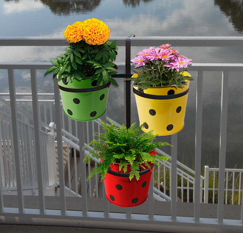 Best Indoor Plant Pots Online - Triangle Pot stand for Railings with 3 Dotted Round Planters (Green, Yellow and Red Color Dotted Round Planters)