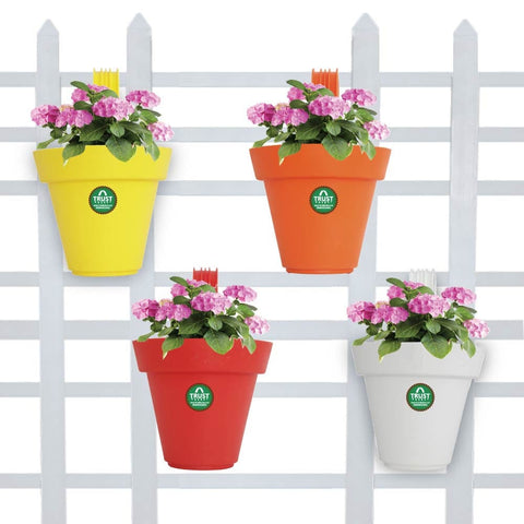 BEST PLASTIC POTS ONLINE - Set of 4 Plastic Railing Planters (Red, Orange, Yellow, White)