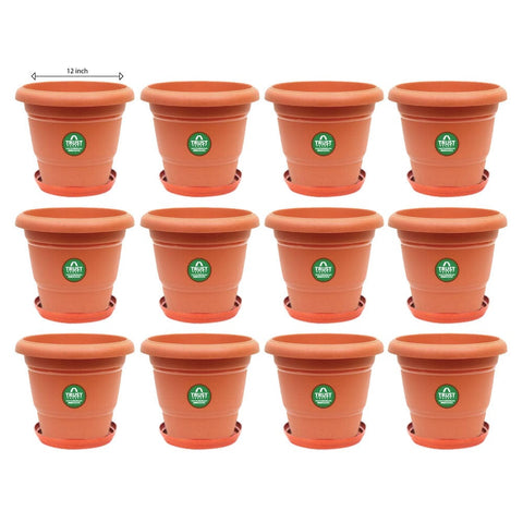 Plastic Pots With Saucer (12 inches) - UV Treated