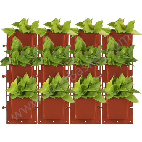 BEST WALL HANGING PLANTERS - SET OF 4-VERTICAL GARDENING PANEL (Brown)