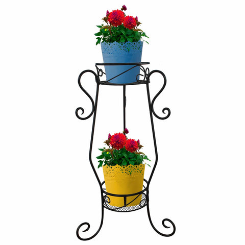 Planter Stand for Flower Pots - TrustBasket Vertical Lane 2 Tier Flower Pot Stand for Plants