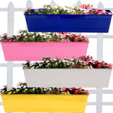 SET OF 4 -Rectangular Railing Planter-Blue,Magenta,Ivory,Yellow (23 Inch) - Trust Basket  - 1