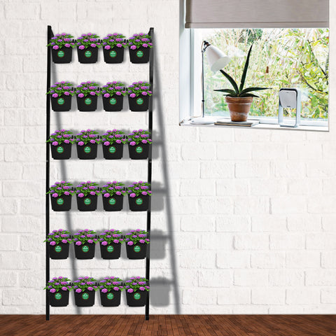 Vertical Ladder Stand with 24 Pouches (Black)