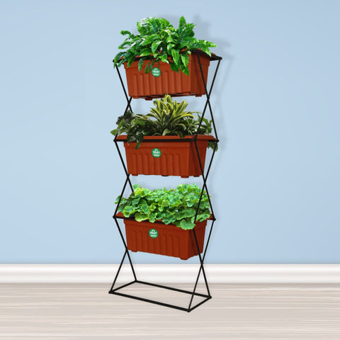 Rectangular Planters Online India - 3 Tier Vertical Gardening Pot Stand with 3 Rectangular Plastic Planter