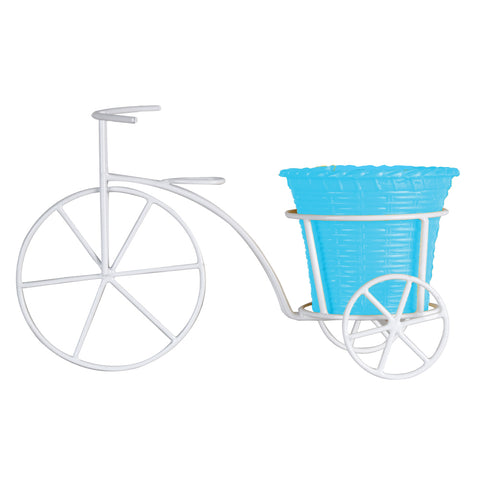 Indoor TableTop Planters - Bicycle With Round Plastic Planter for Small Indoor Plants