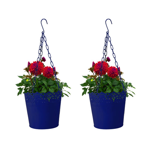 Set Of 2 Lace Hanging Basket-  Blue