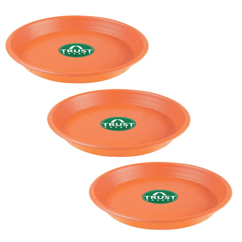 Plastic garden Pots - TrustBasket UV Treated 6.4 inch Round Bottom Tray(Plate/Saucer) Suitable for 10 inch Round Plastic Pot