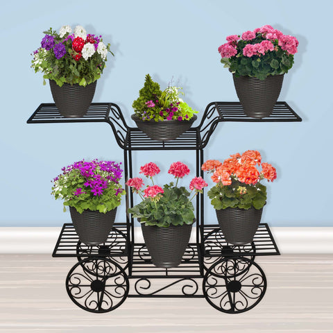 Planter Stand for Flower Pots - TrustBasket Cart type Planter Stand for Plants
