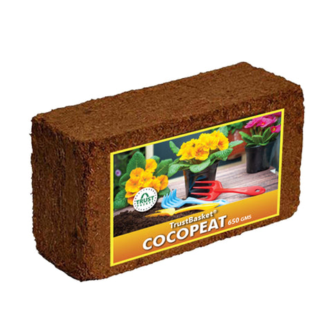 Best Plant Food Products in India - Coco Peat Block(650 grams)-Expands To 8 Litres Of Coco Peat Powder