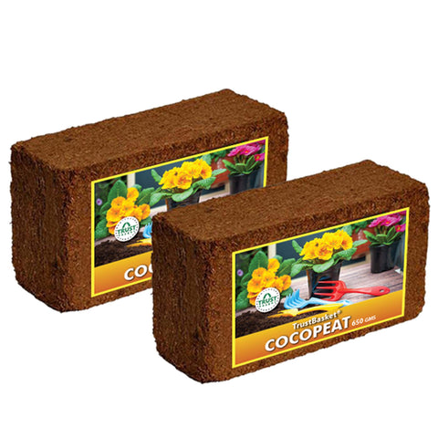 Garden Equipment & Accessories Online - Coco Peat Block (Set Of Two 650grm Blocks)-Expands To 16 Liters Of Coco Peat Powder