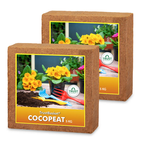 Best Potting Soil Mix in India - COCOPEAT BLOCK - EXPANDS TO 150 LITRES OF COCO PEAT POWDER (Set of two 5kg blocks)