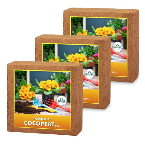 Best Plant Food Products in India - COCOPEAT BLOCK - EXPANDS TO 225 LITRES OF COCO PEAT POWDER (Set of Three 5kg blocks)
