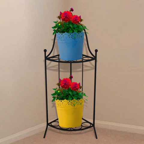 Planter Stand for Flower Pots - TrustBasket Heavy Gauge 2 Tier Corner Stand for Flower Pot