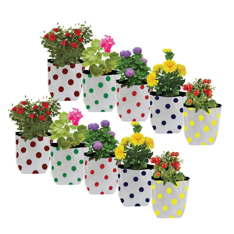 Set of 10 premium colourful Dotted Grow bags(20*20*35 cms)