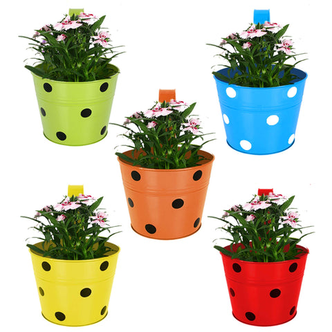 DECORATIVE/CONTEMPORARY PLANT POTS - Dotted Round Balcony Railing Garden Flower Pots/Planters - Set of 5 (Red, Yellow, Green, Orange, Blue)