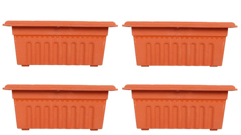 Set of 4 Rectangular UV treated,Heavy Duty Plastic Planter (16 inch) - Trust Basket  - 1