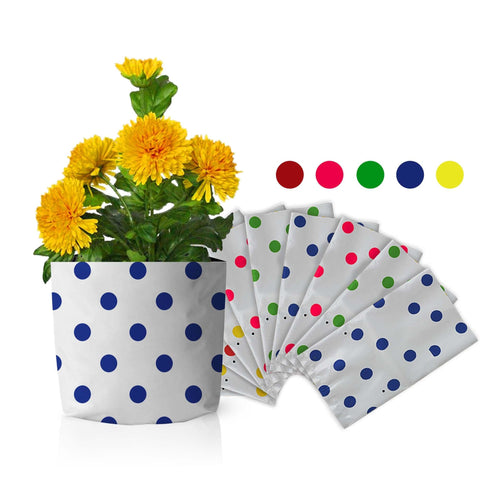 Best Gardening Dotted Grow Bags - Set of 10 premium colourful Dotted Grow bags(20*20*35 cms)