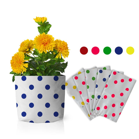 Best Gardening Dotted Grow Bags - Set of 5 premium colourful Dotted Grow bags (20*20*35 cms)