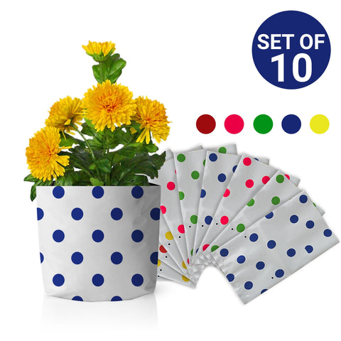 Best Garden Grow Bags in India - Set of 10 premium colourful Dotted Grow bags(20*20*35 cms)