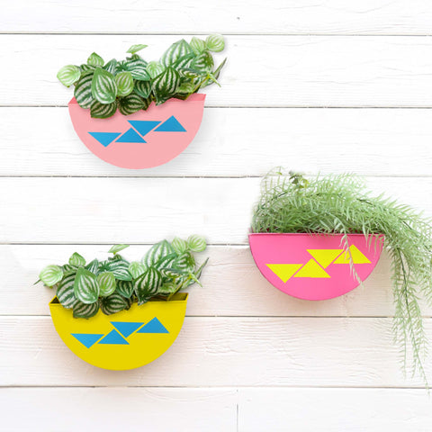 DECORATIVE/CONTEMPORARY PLANT POTS - Half Moon Wall Planters (Yellow, Light Pink and Magenta)- Set of 3