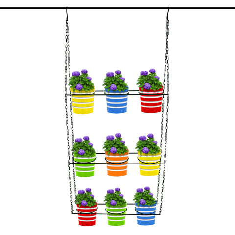 Hanging baskets, Hanging Pots & Planters in India - TrustBasket Swing Hanger with 9 Ribbed Planters