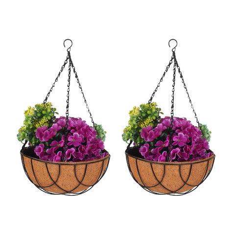Best Indoor Plant Pots Online - Coir Hanging Basket 10 inch with liner - Set of 2