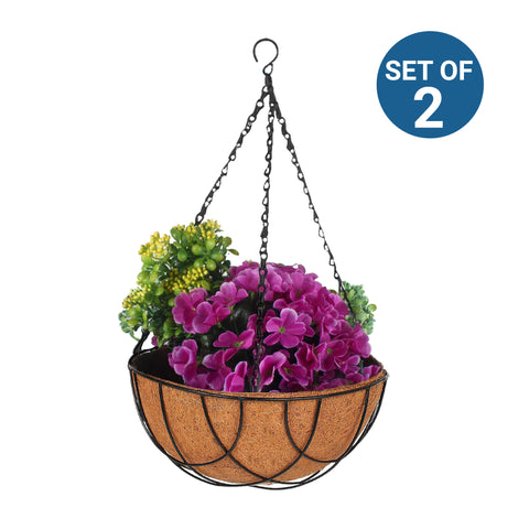 Hanging baskets, Hanging Pots & Planters in India - Coir Hanging Basket 10 inch with liner - Set of 2