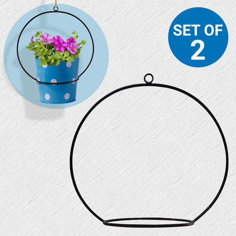 Planter Stand for Flower Pots - Wall Hanging Round Planter Holder - Set of 2