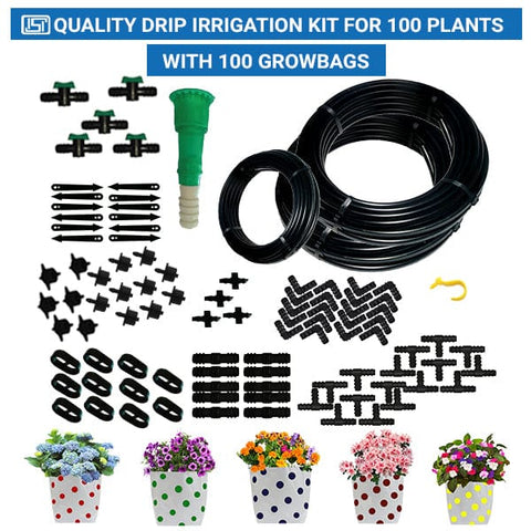 Drip Irrigation Kit for 100 Plants with 100 Colourfull Dotted Grow Bags