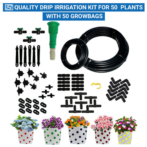 Drip Irrigation Kit for 50 Plants with 50 Colourfull Dotted Grow Bags