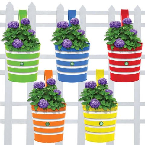 Best Metal Planters in India - Round Ribbed Railing Planters - Set of 5 (Green, Yellow, Red, Blue, Orange)
