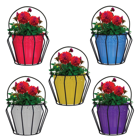 Hanging baskets, Hanging Pots & Planters in India - Lupin Flower Hanging Basket with Lace Planter (Set of 5) -Plant Containers Basket, Home Gardening, Office Use Indoor/Outdoor and Balcony Decoration